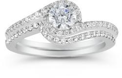0.95 Carat Diamond Swirl Engagement Ring