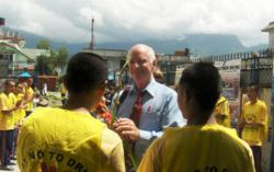 Clark Carr with Narconon Nepal drug rehab students