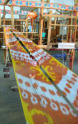 Ikat fabric weaving process