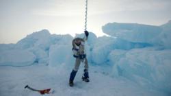 Pen Hadow drills through Arctic sea ice