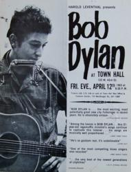 Bob Dylan at Town Hall Concert Poster New York City 1963