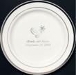 Premium white plastic dinner plated with silver trim and custom printing