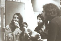 "Matthew Kelly, Bill Cutler & Jerry Garcia in the studio listening back to first takes of ""Riding High"" from Kelly's solo LP ""A Wing & A Prayer"""