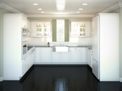 A U-shaped layout is an efficient kitchen designed for one primary cook.