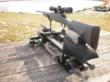 The BGMR will handle any long gun up to a .375 H&H. Here a model 700 Remington is being supported by a rest bag that sits on the rear platform after the vise assembly has been removed