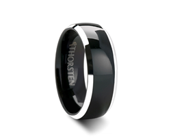 MASERATI Domed Black Tungsten Band with Polished Beveled Edges - 4 - 8 mm