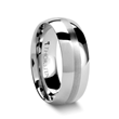 Domed with Brushed Stripe Tungsten Wedding Ring - 4 - 8 mm