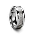 ULTIMUS Beveled White Carbon Fiber Inlay Tungsten Band 4mm - 8mm