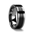 EDINBURGH Flat Grooved Tungsten Ring with Black Ceramic Inlay - 6mm & 8mm