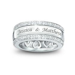 "Double-Engraved ""Spinning"" Diamond Couples Ring"