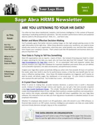 Sage Abra HRMS Newsletter for Sage VARs, Resellers, and Channel Partners