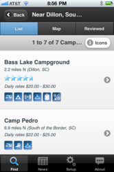 Camp Finder iPhone app from CampingRoadTrip.com showing a list of campgrounds and RV Parks with amenities and rates
