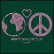 """Saraphia's """"world peace or bust'T-shirt detail"""