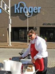 "Early in the morning on a chilly day, Tim set up his grill and prepares his samples for the 10 am board room meeting with top Kroger executives to consider Lawhorn's Signature Seasonings for Kroger stores. Tim's ""Taste-Test"" method is working wonders when"