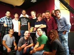 A pic of Iron Finger with the employees of Studio City Sound after their performance on SCS Live!