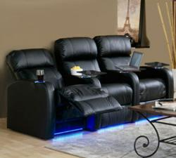 Palliser Bullet Home Theater Seats in Black Leather