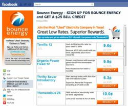 "Facebook users are now able to order Texas electricity service from the most ""liked"" electricity company, Bounce Energy"