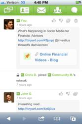 Screen Capture of linkedFA's new mobile website designed for iPhone, iPad and Android