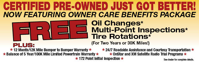 new certified pre owned maintenance program at gearhart chevrolet includes free oil changes for. Black Bedroom Furniture Sets. Home Design Ideas