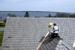 DaVinci EcoBlend Weathered Gray Slate roofing tiles being installed on Green Life Smart Life project in Rhode Island.