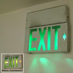 LED Exit Sign Replacement Kit - Before and After