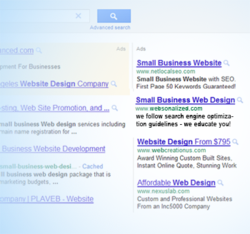 Example of search engine adveritsing by small business web design