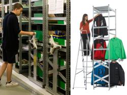 Mobile Shelving and Garment Hanging Systems from Action Storage - Ideal for Warehouse/Stockroom