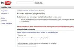 YouTube Trademark complaint form