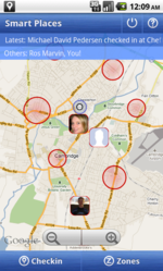 Smart Places notifies users when their friends check-in nearby, and shows an intuitive map overview. The red circles represent areas where the user is automatically checked in.