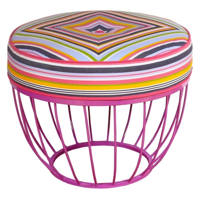 A Mid Century Ottoman from Iriwn Feld Design, upholstered in the Sunbrella  fabrics. All proceeds from the sale of the ottoman will benefit the  Connecticut ... - Sunbrella® Fabrics And Irwin Feld Design Team Up For Pink Promotion