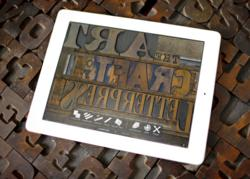 Art & Craft of Letterpress on iPad on type tray background