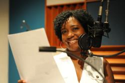 Pamela Cook recording her role as Gabby Dubois