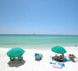 Famous white-sand beaches and emerald-green water of the Gulf Coast