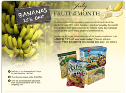 Brothers-All-Natural Fruit of the Month program launch. July 2011 is BANANA month. Healthy snacks made from 100% fruit, freeze-dried fruit.