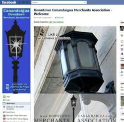 Facebook's Fan Page for Downtown Canandaigua Merchant Association