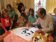 Children learn about Chinese Hanzi characters.