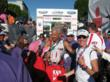 Daggett, family and friends celebrating at the finish line