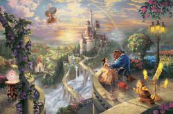 Thomas Kinkade - Beauty and the Beast Falling in Love - Disney Dreams Collection - world-wide-art.com