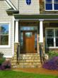 Therma-Tru Classic-Craft American Style Collection door with Hazleton decorative glass.
