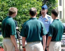 RADM J. Scott Burhoe meets cadets on the campus of Fork Union Military Academy on his first day as President of the school.