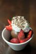 The Penny Ice Creamery's chocolate sundae topped with strawberries and toasted marshmallow fluff. Photograph by Lane Johnson.