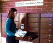 """LEID's electronic lockers used by Washington County Public Library for """"Library Express"""" pick-up available 24/7 outside Hugo City Hall in Minnesota."""