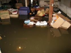 flooded basement in a home