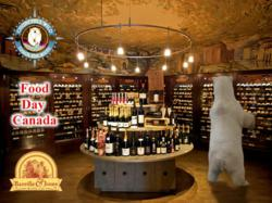 Churchill polar bear shops for wine at Banville & Jones Wine Co. in preparation for Food Day Canada