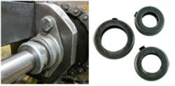 Shaft collars being utilized on a conveying system and showing the three sizes available.