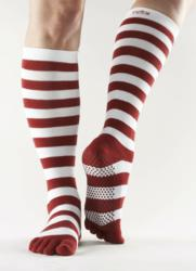 Red and white holiday knee high grip toe socks by ToeSox