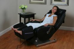YuMe rocking massage chair from Inada. The first of it's kind. the chair offers state of the art massage and a rotary system that allows the rocking motion.