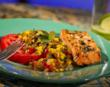 Salmon and Caramelized Veggies on Tomato Slices