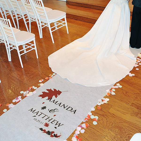 Personalized fall themed wedding isle runner