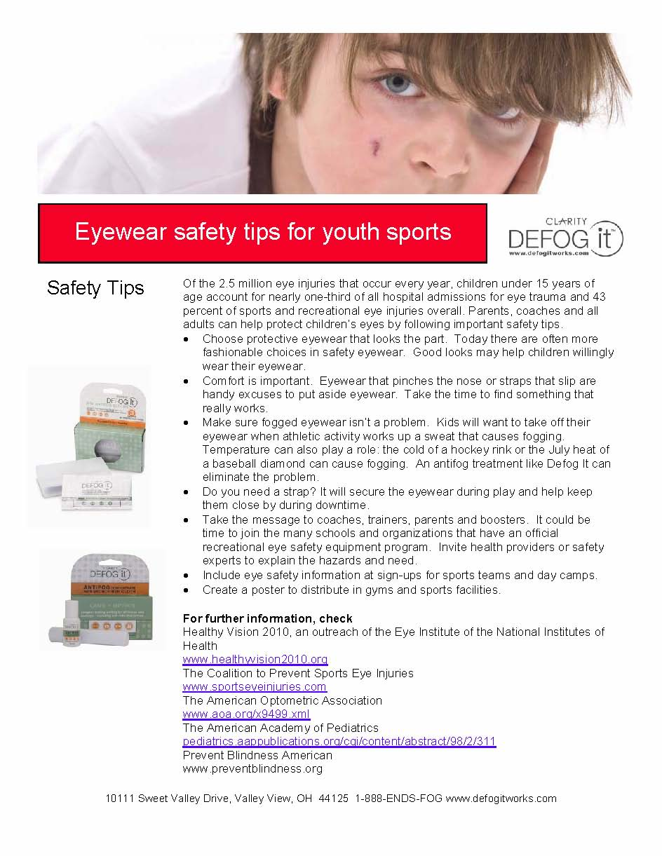 6 must-see tips for protecting young athletes' eyes: Defog ...